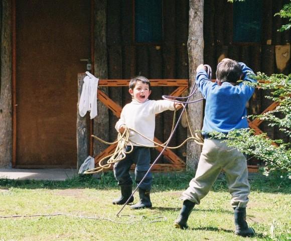 Boys Playing Gaucho, Fraile, Argentine Patagonia