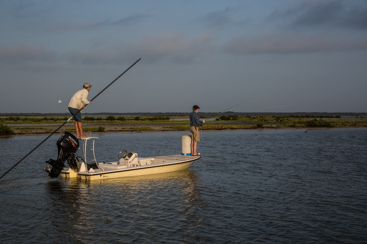 Ben Paschal leads his way to a feeding pod in a back lake of the Lower Laguna Madre