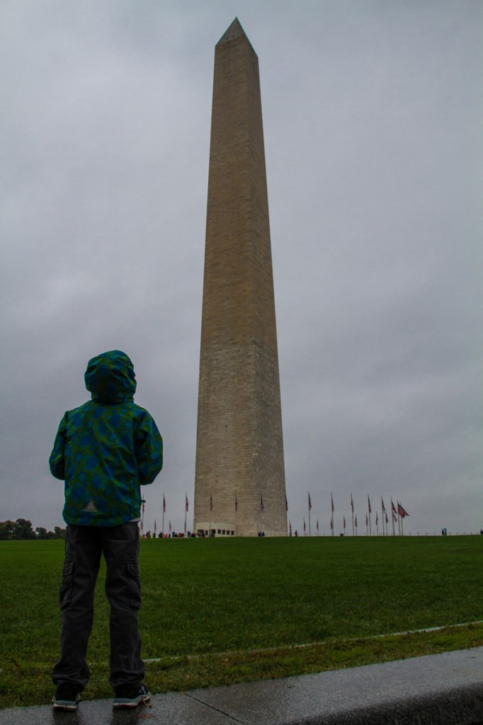 Spying the Washington Monument in the rain